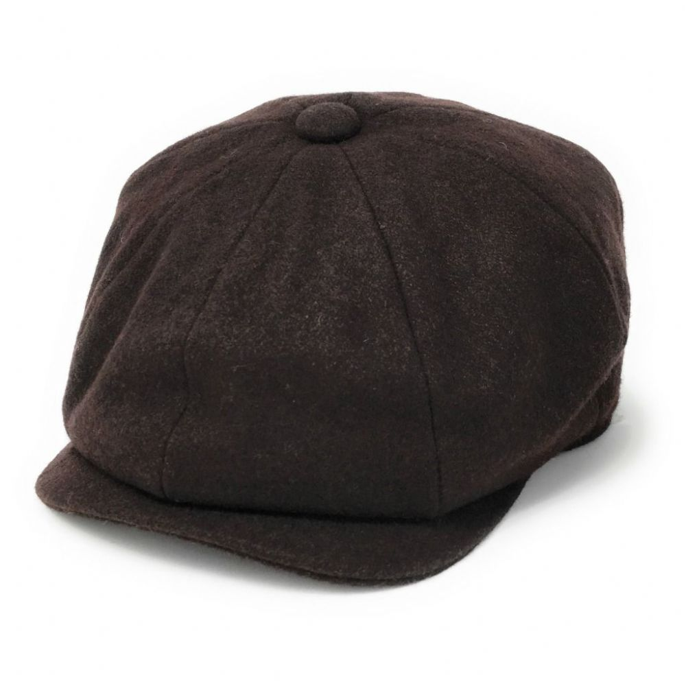 Baker Boy Cap - Gatsby - Melton Wool - Lined -  Brown (Peaky Blinders Style Cap)